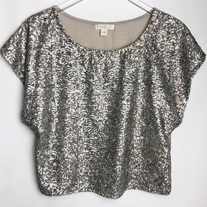 love, Fire   Silver Sequin Crop Short Sleeve Top